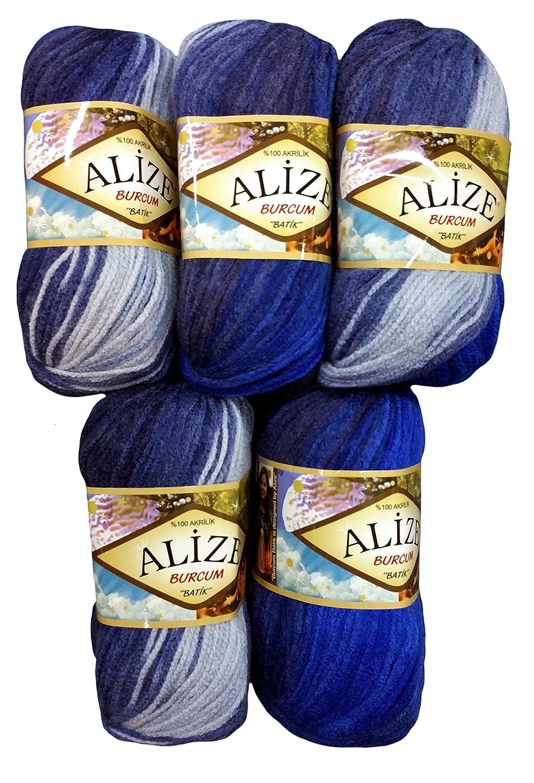 N /° 4761/500/gram Laine /à tricoter en laine Bleu fonc/é 5/paquets de 100/g Alize Burcum Batik Bleu clair//avec d/égrad/é de couleur