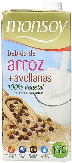 MONSOY Bebida de Arroz con Avellanas Ecologica 1L [caja de 4 x 1L]