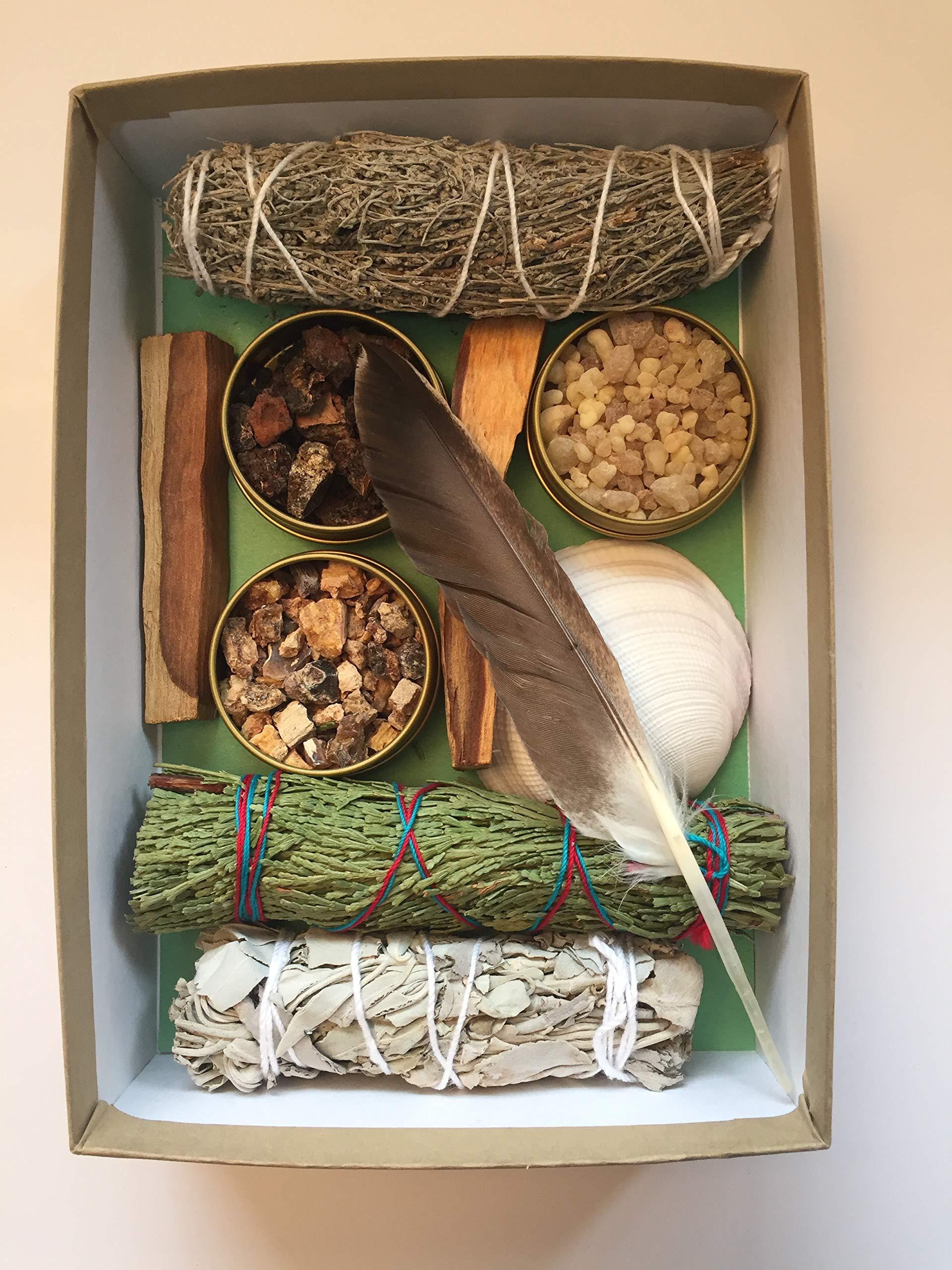 Sacred Scents For You Resin Incense and Sage Smudges Variety Gift Set Includes: Blue Sage, Cedar, White Sage & Palo Santo Wood. Frankincense, Myrrh & Mayan Copal Resins by Sacred Scents For You (Image #1)