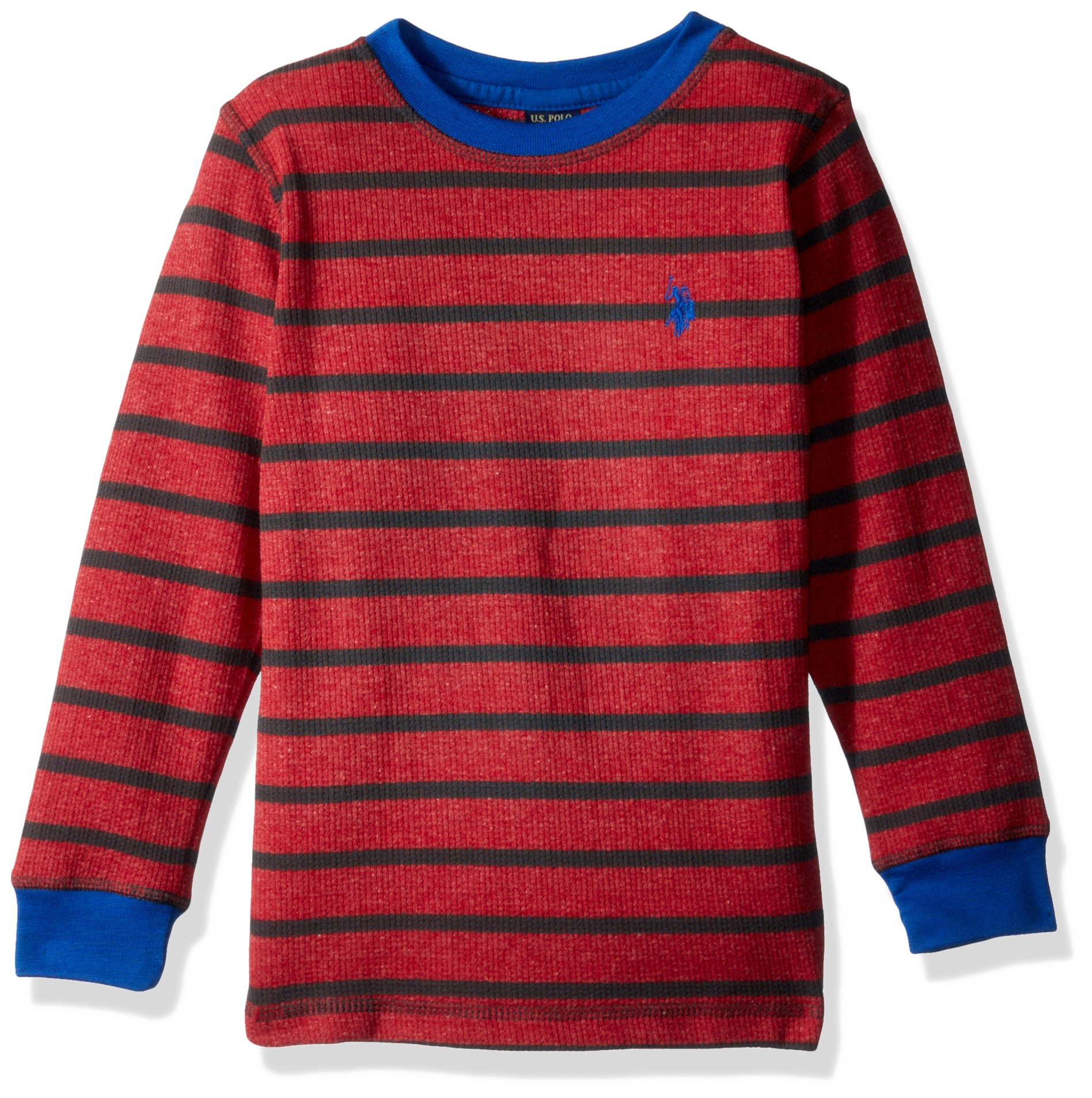U.S. Polo Assn. Big Boys' Long Sleeve Fancy Crew Neck Thermal, Red Heather Hd, 10/12