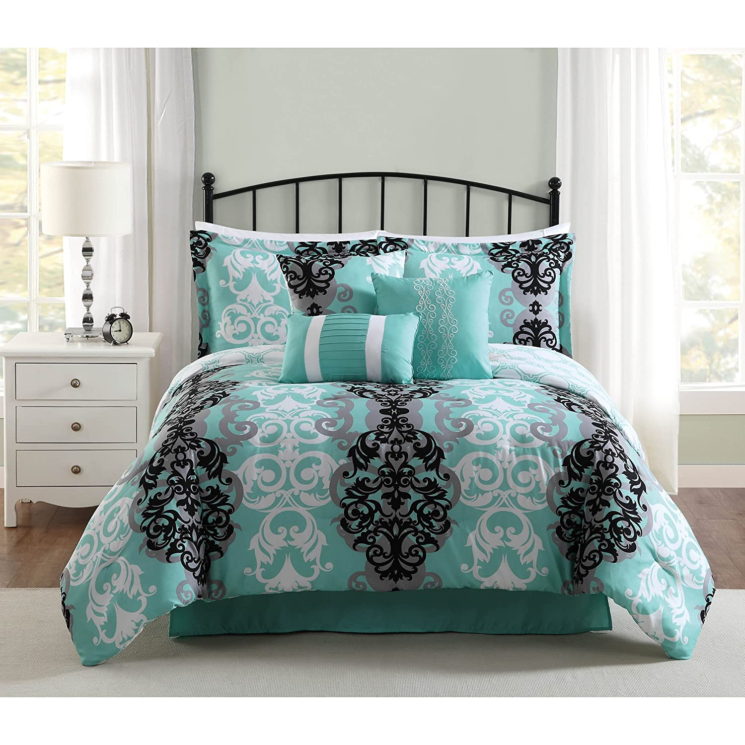 Studio 17 Downton 7-Piece Full/Queen Comforter Set, Black/Gray/Aqua