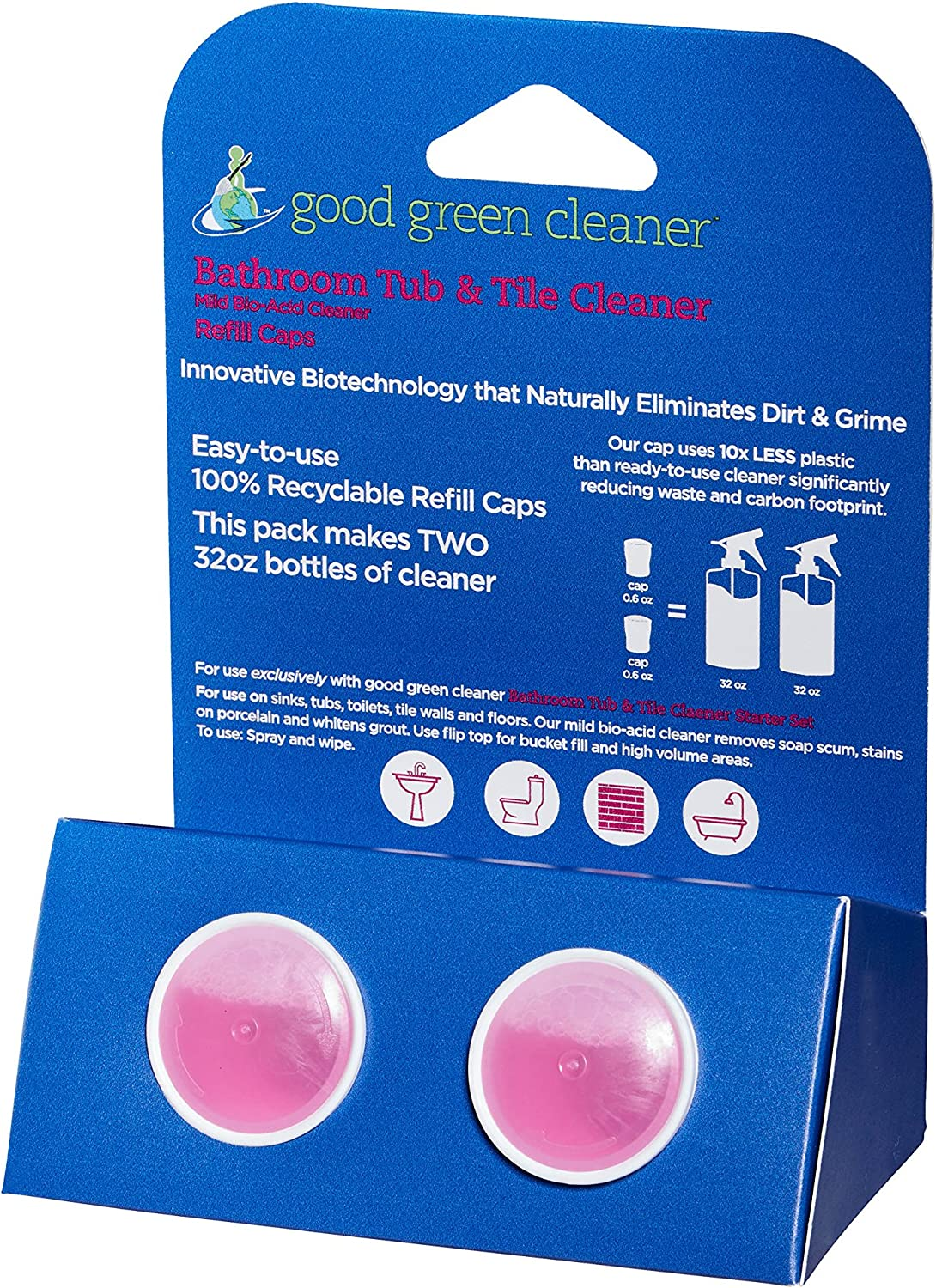 Good Green Cleaner Bathroom Tub & Tile Refill Set - 2 Recyclable PODs of Concentrate to Refill Your Starter Set. Makes 64 oz of Ready to Use Cleaner