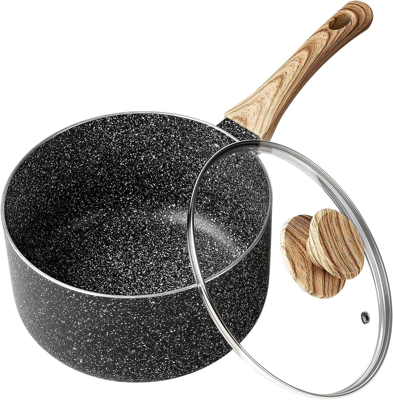 MICHELANGELO 3 Quart Saucepan with Lid,Nonstick Sauce Pan with Lid, Small Pot with Lid,Stone Coating Sauce pan 3quart, Small Sauce Pot, Ergonomic Bakelite Handle, Black