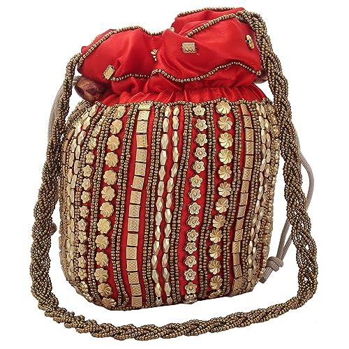 Jwellmart Women Traditional Satin Purse Potli Bag Drawstring Jewelry Pouch  Bag Gift Bag Value Set Wristlet