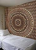 Raajsee - Esclusivo arazzo indiano fatto a mano, motivo: mandala, multicolore, stile: bohemien e hippy, utilizzabile come copriletto o per decorazione da parete