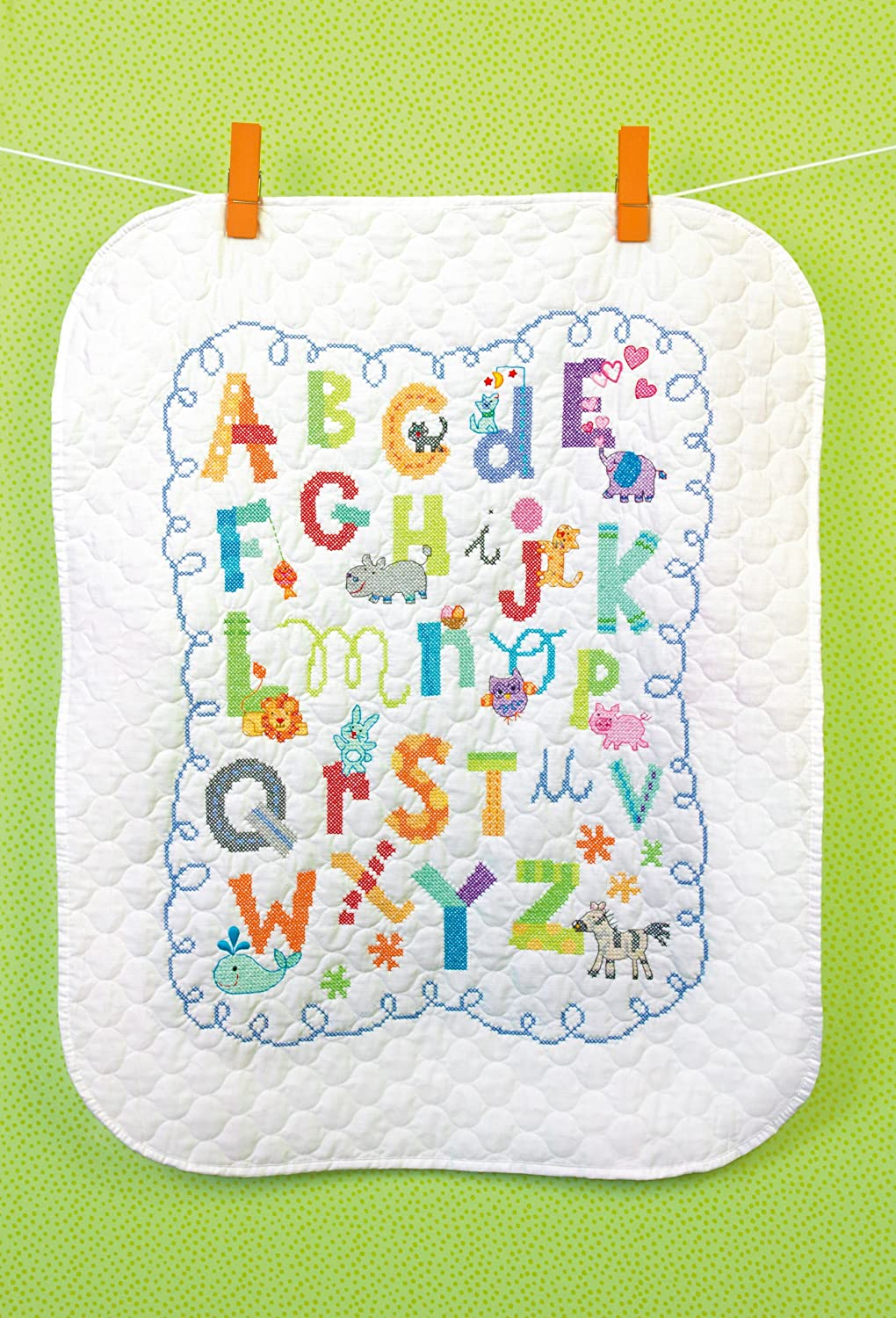 Amazon.com: Dimensions Needlecrafts Stamped Cross Stitch, Alphabet ... : alphabet baby quilt pattern - Adamdwight.com