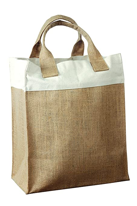 aac3e7e8c83 Amazon.com: Two Tone Natural with Natural Jute Bag with Cotton Trim ...