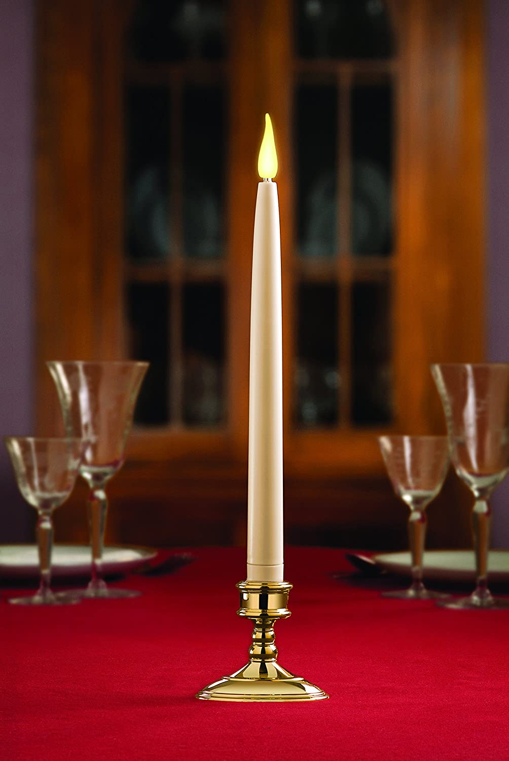 9-inch White Taper LED Flameless Battery Operated Candle with 6 Hour Timer