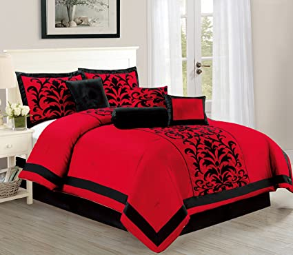 Empire Home Dawn 10 Piece Comforter Set Over Sized Bed In A Bag   Red U0026