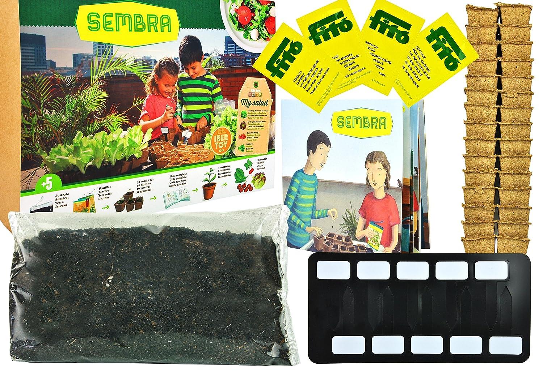 Anzuchtset / Pflanzset für Cherry Tomaten, Spinat, roter und grüner Salat mit allem was benötigt wird und Schritt-für-Schritt Anleitung