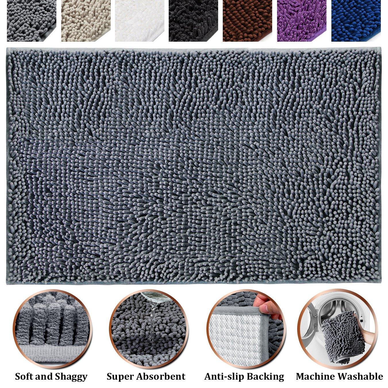 Amazon.com: Soft Microfiber Shag Bath Rug Non-slip Bathroom Mat ...