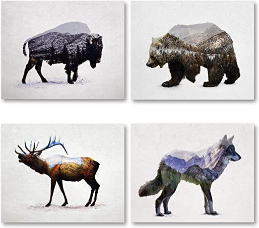 Bear Wall Art Decor Canvas Home Rustic Wildlife Print Picture Lodge Cabin New