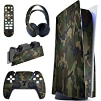 PlayVital Army Green Camouflage Full Set Skin Decal for PS5 Console Disc Edition, Sticker Vinyl Decal Cover for…