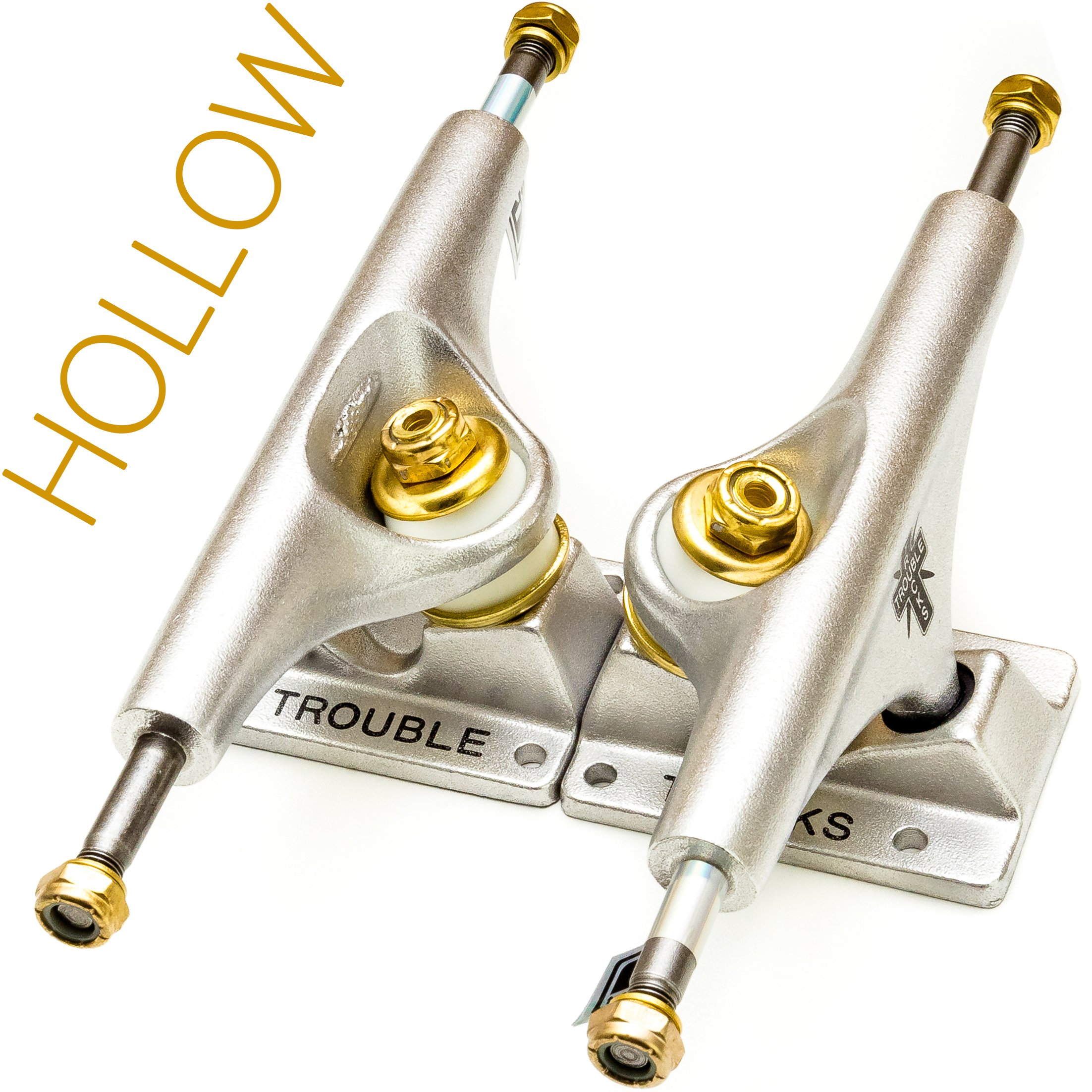 Trouble Trucks Skateboard Truck Hollow Light - 139mm Hanger 8.25'' Axle - Matte Gold Silver - Set of 2 (T2) by TROUBLE SKATEBOARDS