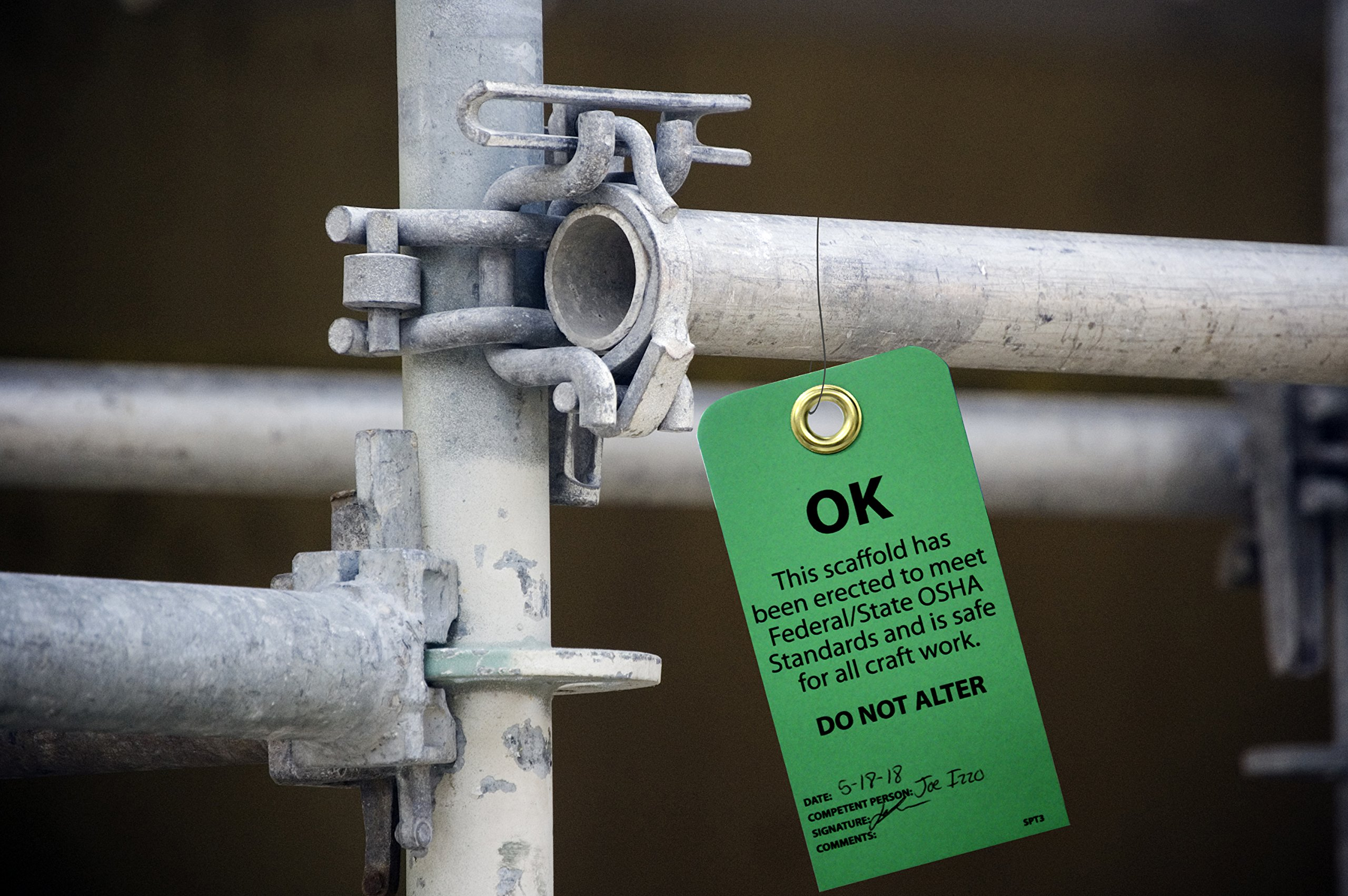 NMC SPT3 Accident Prevention Tag, ''OK - This Scaffold Meets OSHA Standards and Is Safe,'' 6'' Height x 3'' Width, Cardstock, Green by NMC (Image #4)