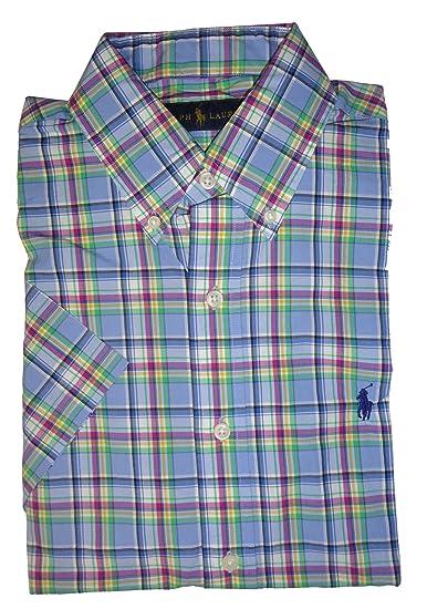 2048283e Polo Ralph Lauren Mens Short Sleeve Button Down Shirt Blue Plaid