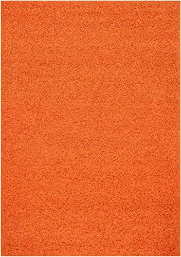 RugStylesOnline Solid Color New Bright Orange Shag Area Rug Rugs Shaggy Collection Bright Orange, 7 10 x9 10