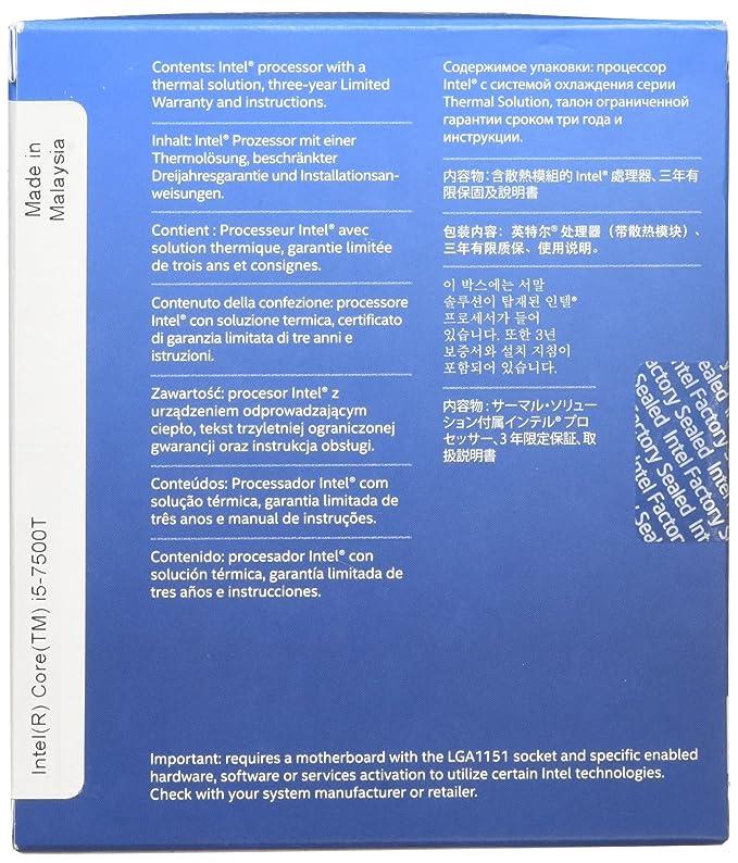 Intel Core i5-7500T 2.70GHz 6MB Smart Cache Caja - Procesador (Intel Core i5-7xxx, 2,70 GHz, Socket H4 (LGA 1151), PC, 14 NM, i5-7500T): Amazon.es: ...