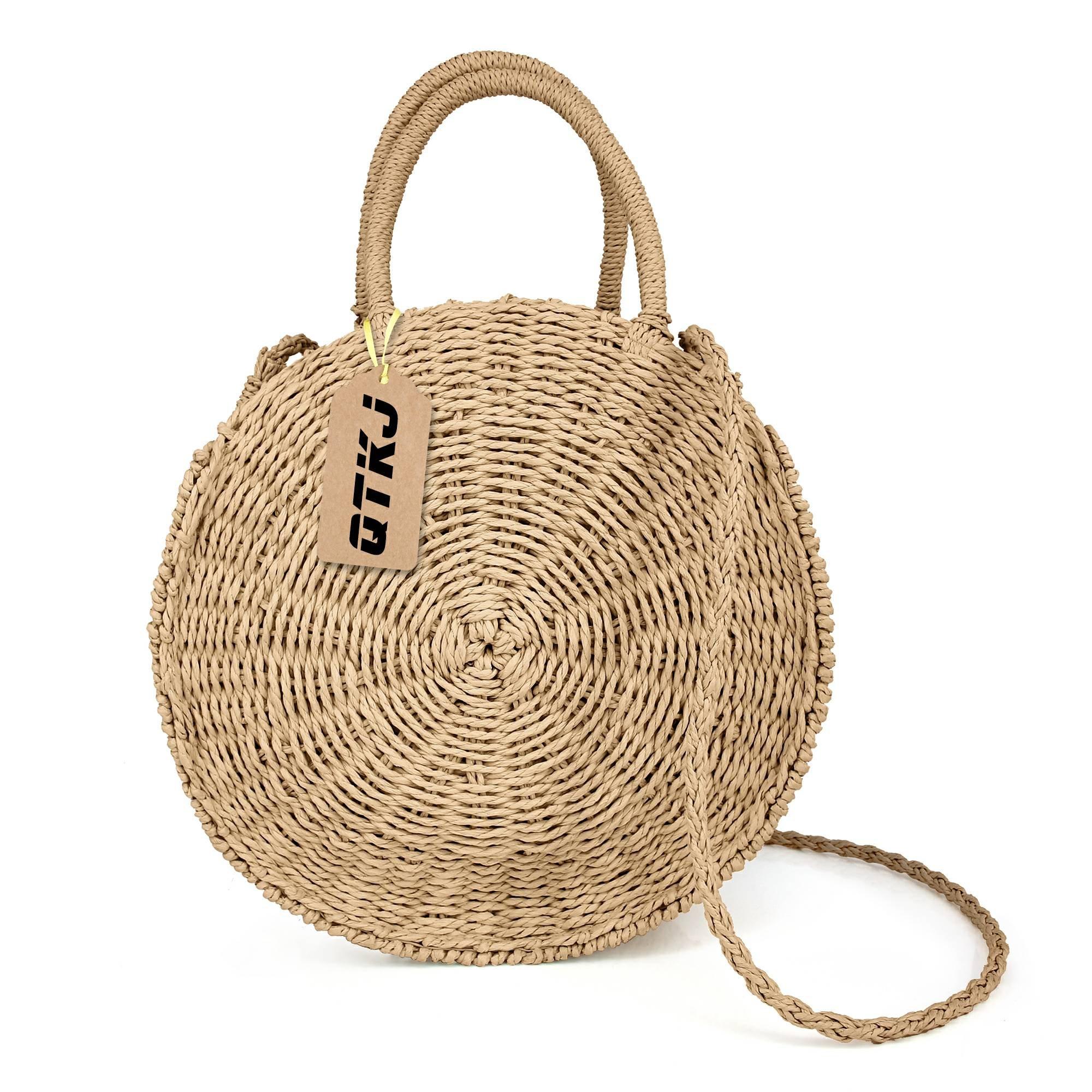 Women Straw Summer Beach Bag Handwoven Round Rattan Bag Cross Body Bag Shoulder Messenger Satchel (khaki)