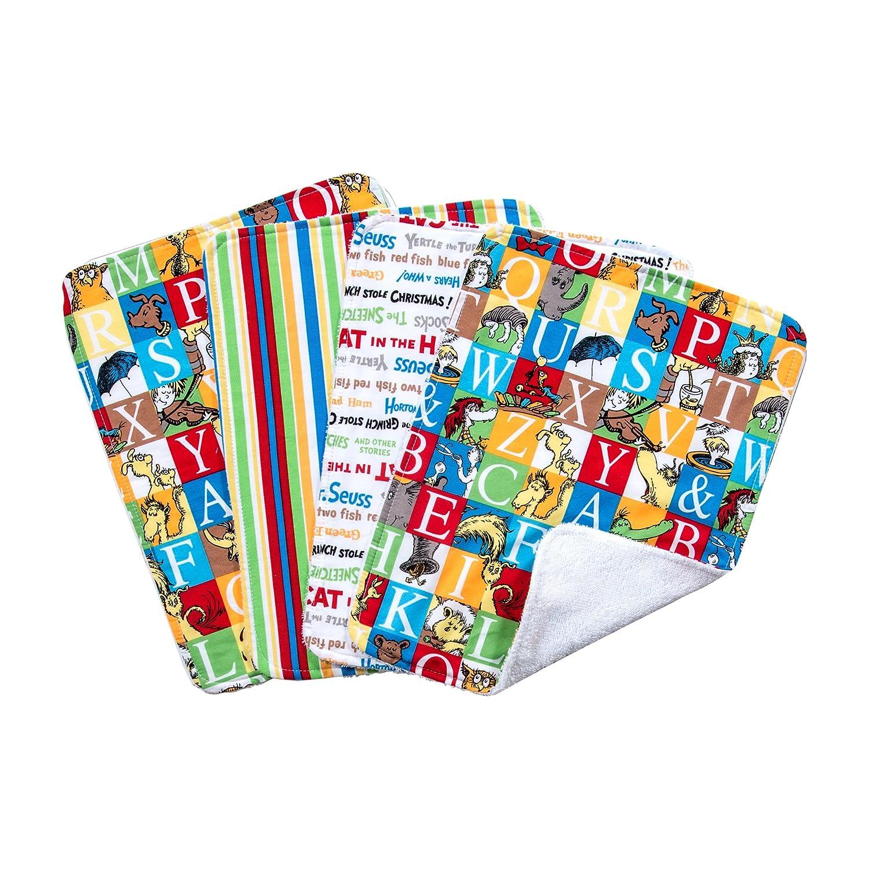 Trend Lab Dr. Seuss Alphabet Bouquet Burp Cloth Set, 4 Count 30442