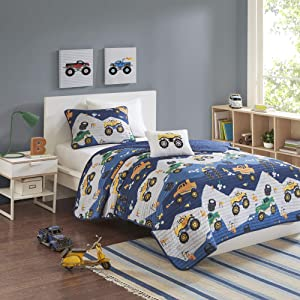 Mi Zone Kids Nash Reversible Cotton Fill Matchstick Monster Trucks Printed Brushed Ultra-Soft Down Alternative Hypoallergenic Season Coverlet Quilts Bedding-Set, Twin, Blue