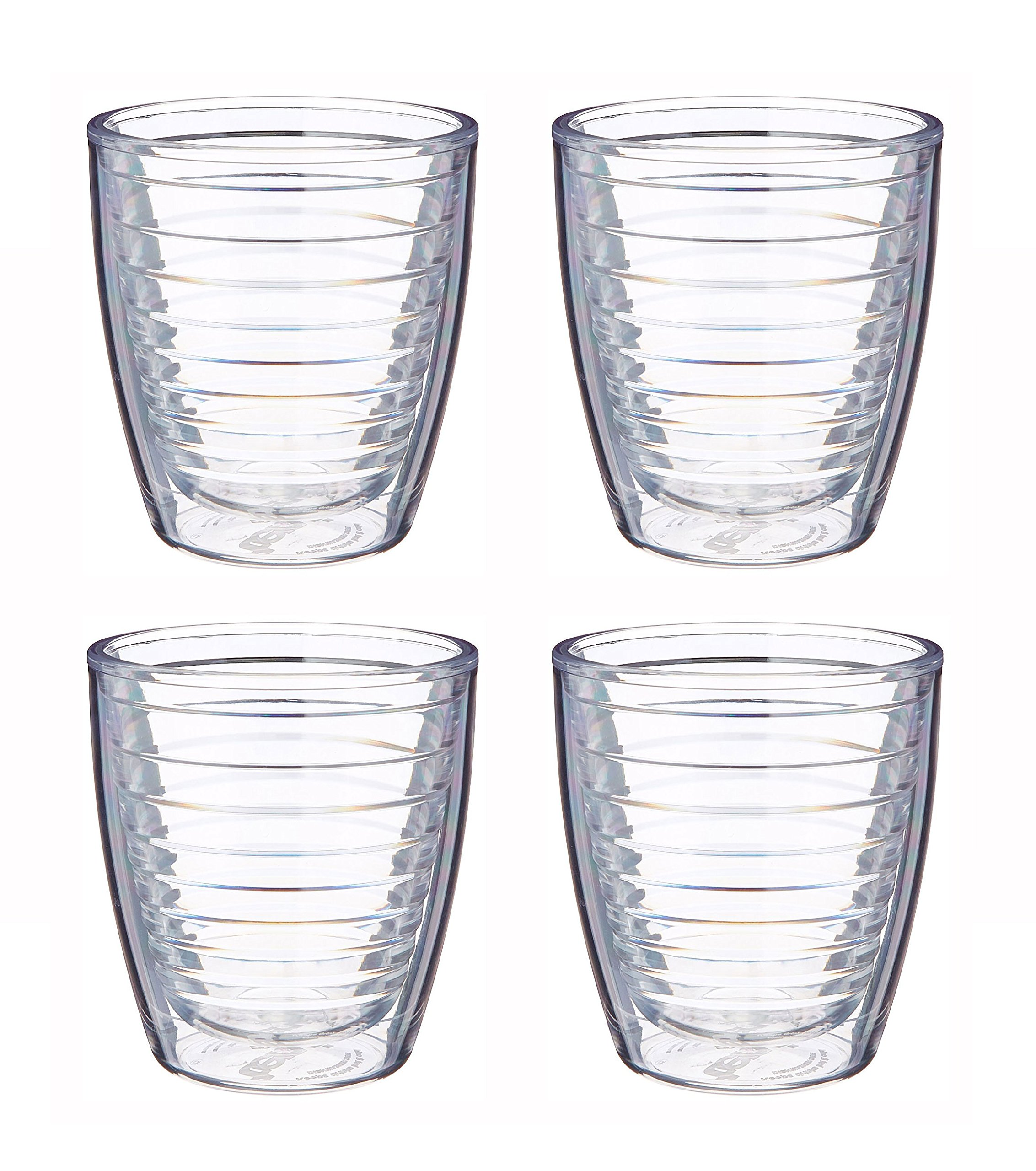 Tervis 12oz clear tumbler set of four tumblers, 3.75 inches in diameter by 4.25 inches tall