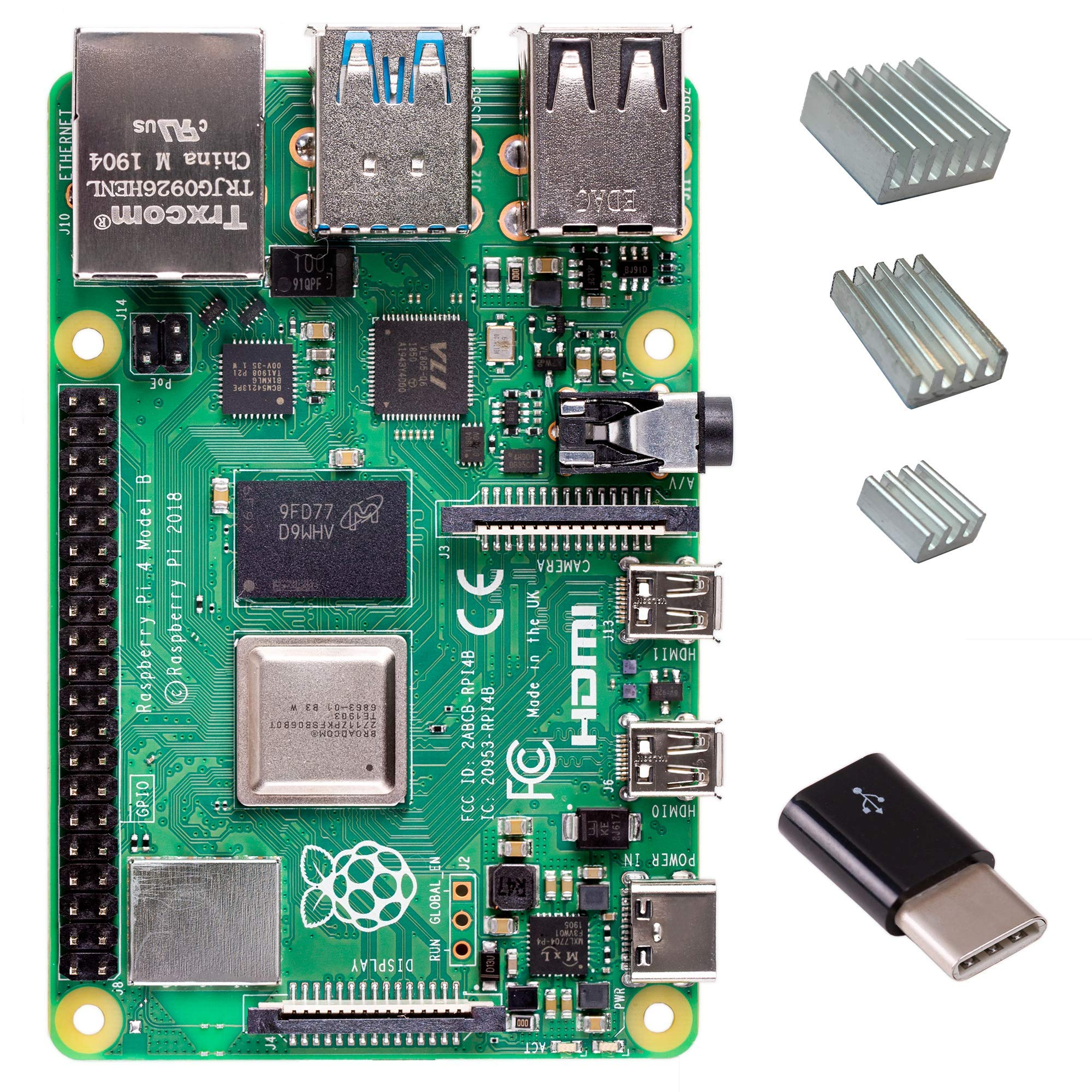 Raspberry Pi 4 with CanaKit Heat Sinks and Micro USB to USB-C Converter (2GB RAM)