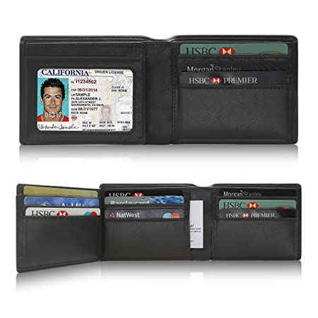 Genuine Leather Wallets for Men | SHARKACE RFID Blocking Wallet with ID  Window Flap