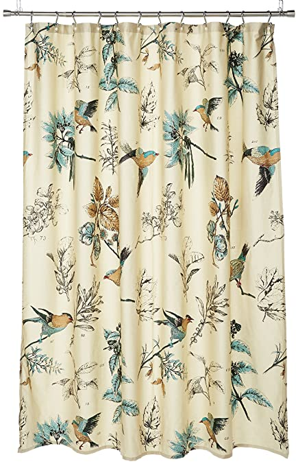 JLA Home INC Quincy Pattern Bird U0026 Floral Cotton Fabric Shower Curtain,  Vintage Transitional Shower