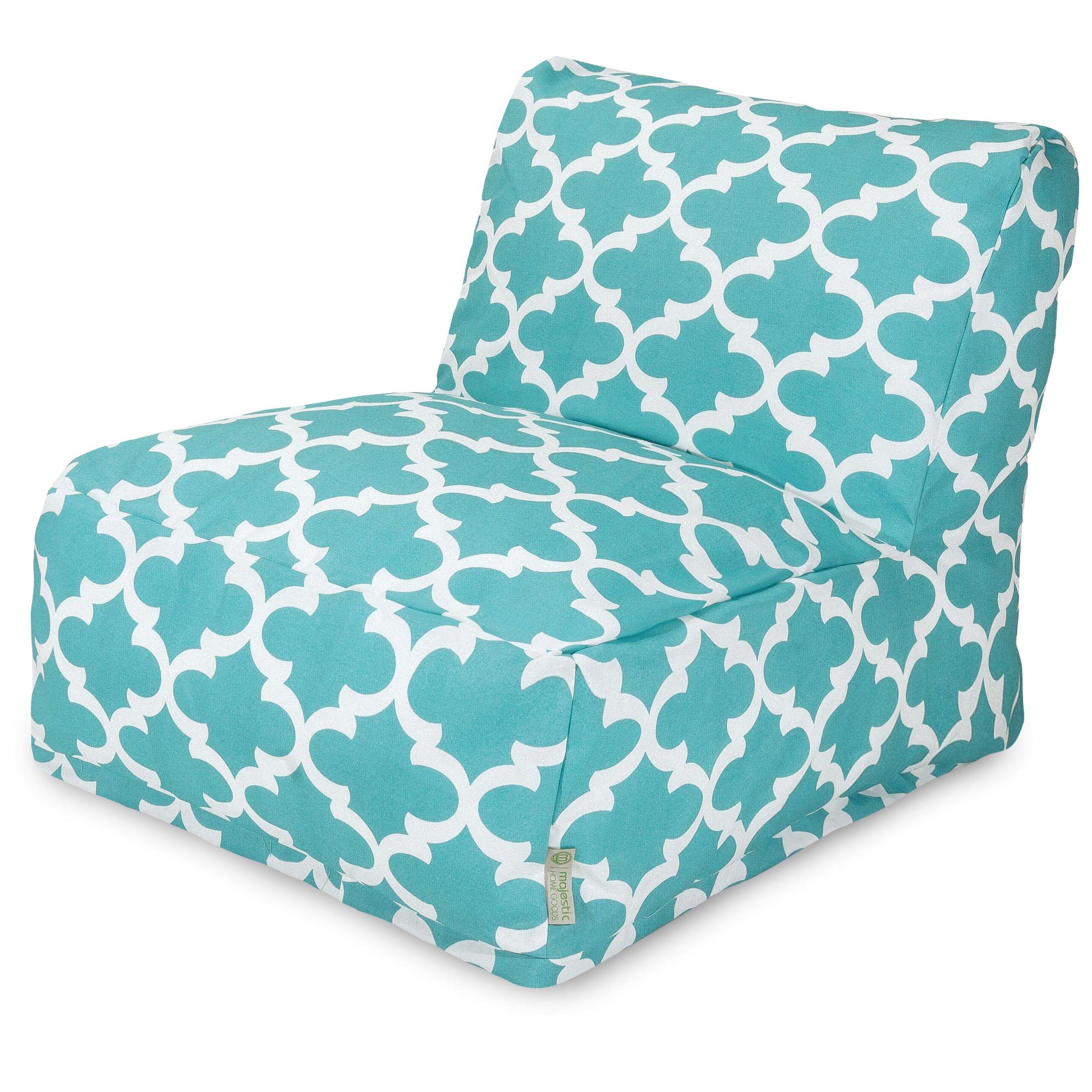 Majestic Home Goods Trellis Bean Bag Chair Lounger, Teal
