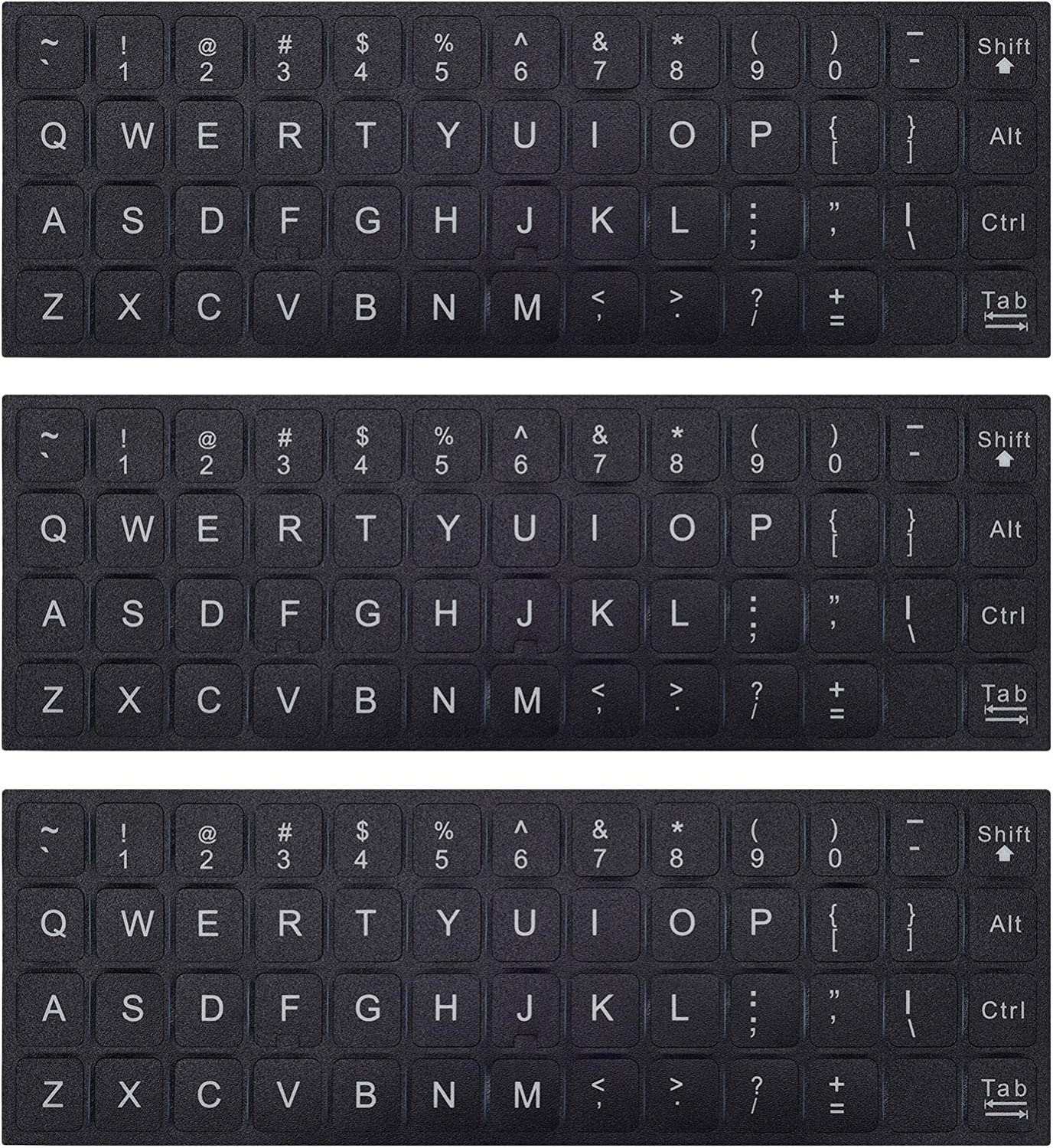 3PCS Universal English Keyboard Letter Stickers, Replacement English Keyboard Stickers with Black Background and White Lettering for PC Computer Laptop Desktop-English