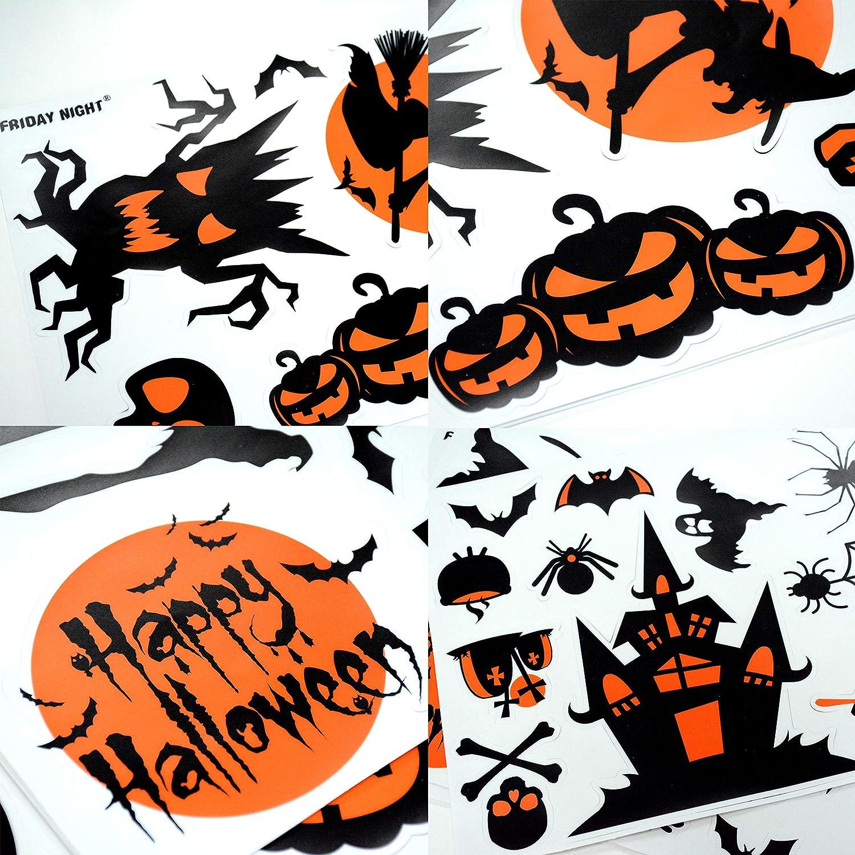 Juego de 7 fiesta de Halloween Decoración de ventana aferra-fantasma cráneo Araña Murciélago Etc