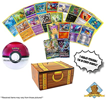 Amazon com: 100 Pokemon Cards - 1 Sealed Pokeball Tin - 2 GX