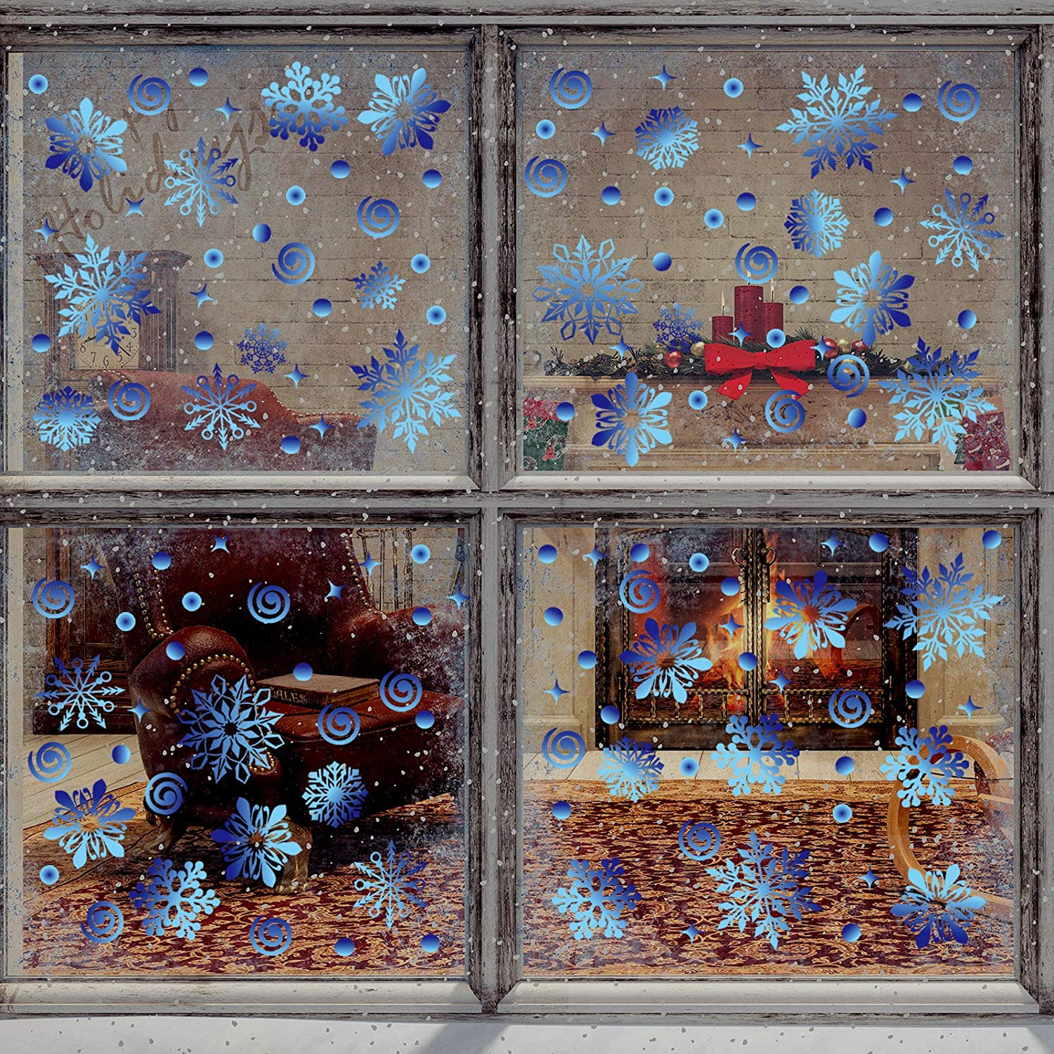 Outus 570 Pieces Christmas Window Clings Christmas Snowflake Decal Stickers Window Clings Decorations for Christmas Frozen Theme Party New Year Supplies, 12 Sheets (Blue)