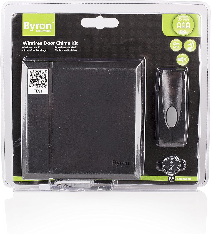 Kit de sonnette sans fil Byron BY401B 4 m/élodies Blanc Port/ée de 60 m