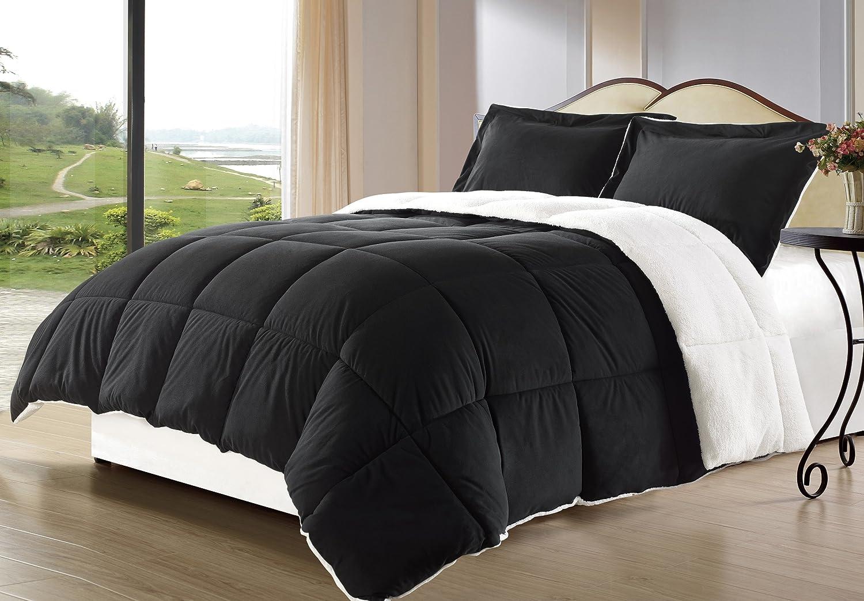 Cozy Beddings 3-Piece Borrego Sherpa/Berber Throw Blanket and Down Alternative Mini Comforter Set, King, Black