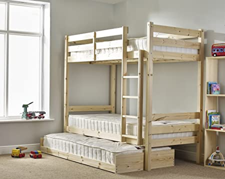 Bunk Bed With Trundle And Three Mattresses 3ft Single Solid Pine