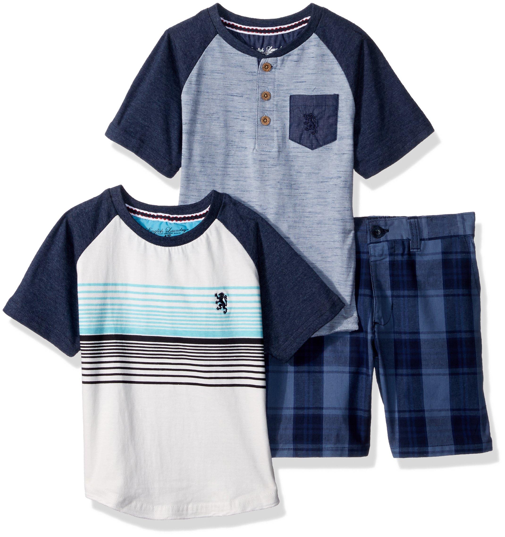 English Laundry Toddler Boys' Sleeve Henley, Raglan Tee and Plaid Short, Multi Plaid, 2T