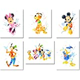 Mickey Mouse Wall Art Watercolor Poster Prints - Set of Six 8x10 Photos - with Mickey Minnie Donald Duck Goofy Pluto
