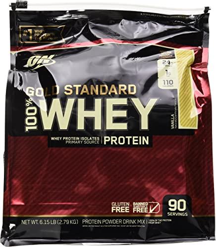 OPTIMUM NUTRITION GOLD STANDARD 100 Whey Protein Powder, Vanilla, 6 Pound