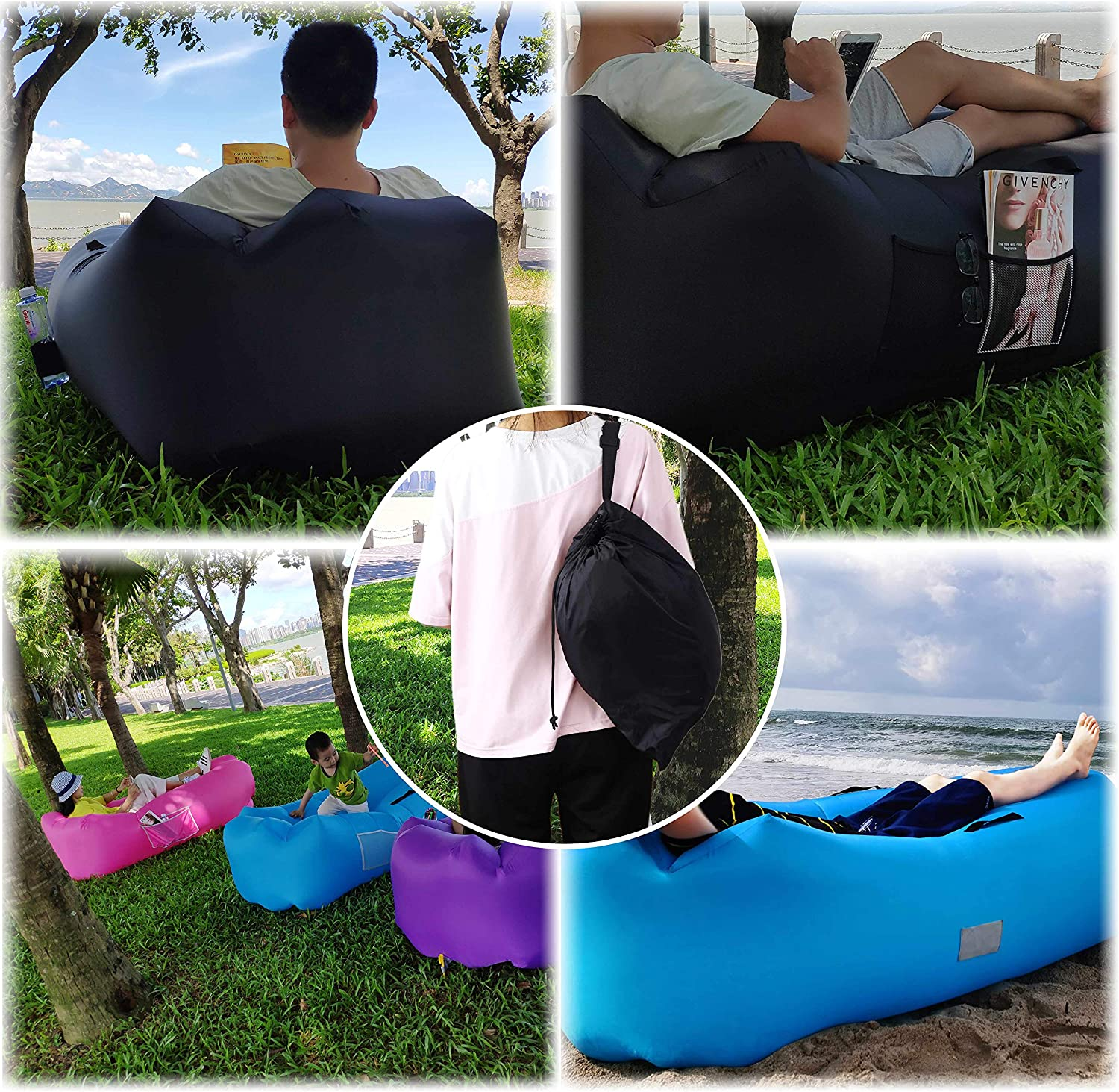 Honsky Inflatable Couch Lounger with Pillow Blow up Chair Hammock for Outdoor Camping Beach Blue Cool Waterproof Anti-Air Leaking Air Sofa