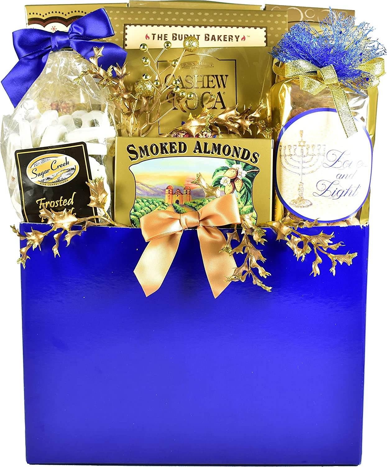 Gift Basket Village The Elegant Gourmet, Hanukkah Gift Basket with Cookies, Fudge Pretzels, Almond and Cashew Rocas, Rolled Wafer Cookies and More