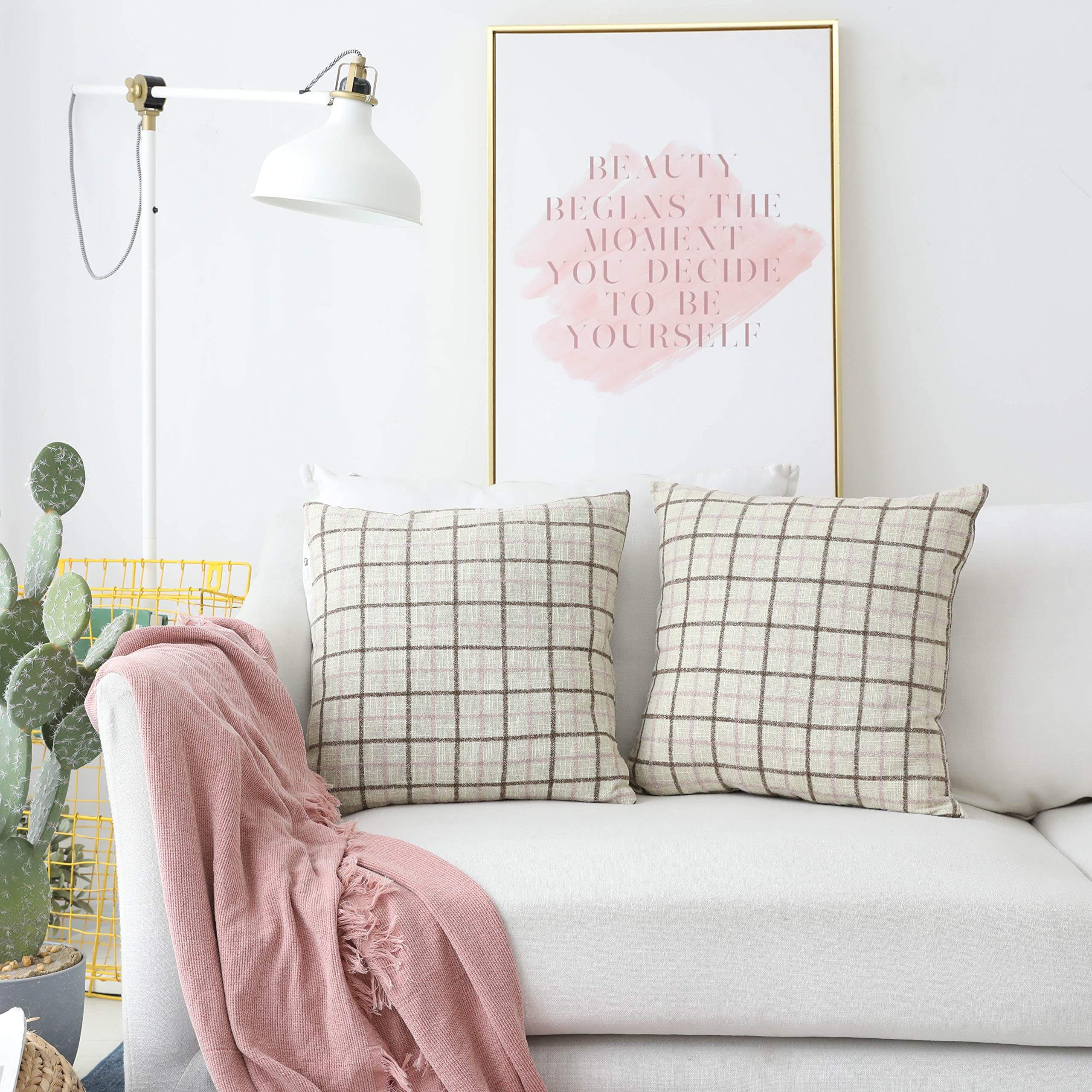 Kevin Textile Pack of 2, Decorative Fashion Classic Checkered Throw Pillow Covers Cotton Linen Chenille Jacquard Soft Square Cushion Case Car/Sofa/Bedroom, 18'' x 18'', Pink Lavender + Brown