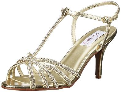 Dyeables, Inc Womens Lexi Dress Sandal, Gold/Metallic, 5 M US