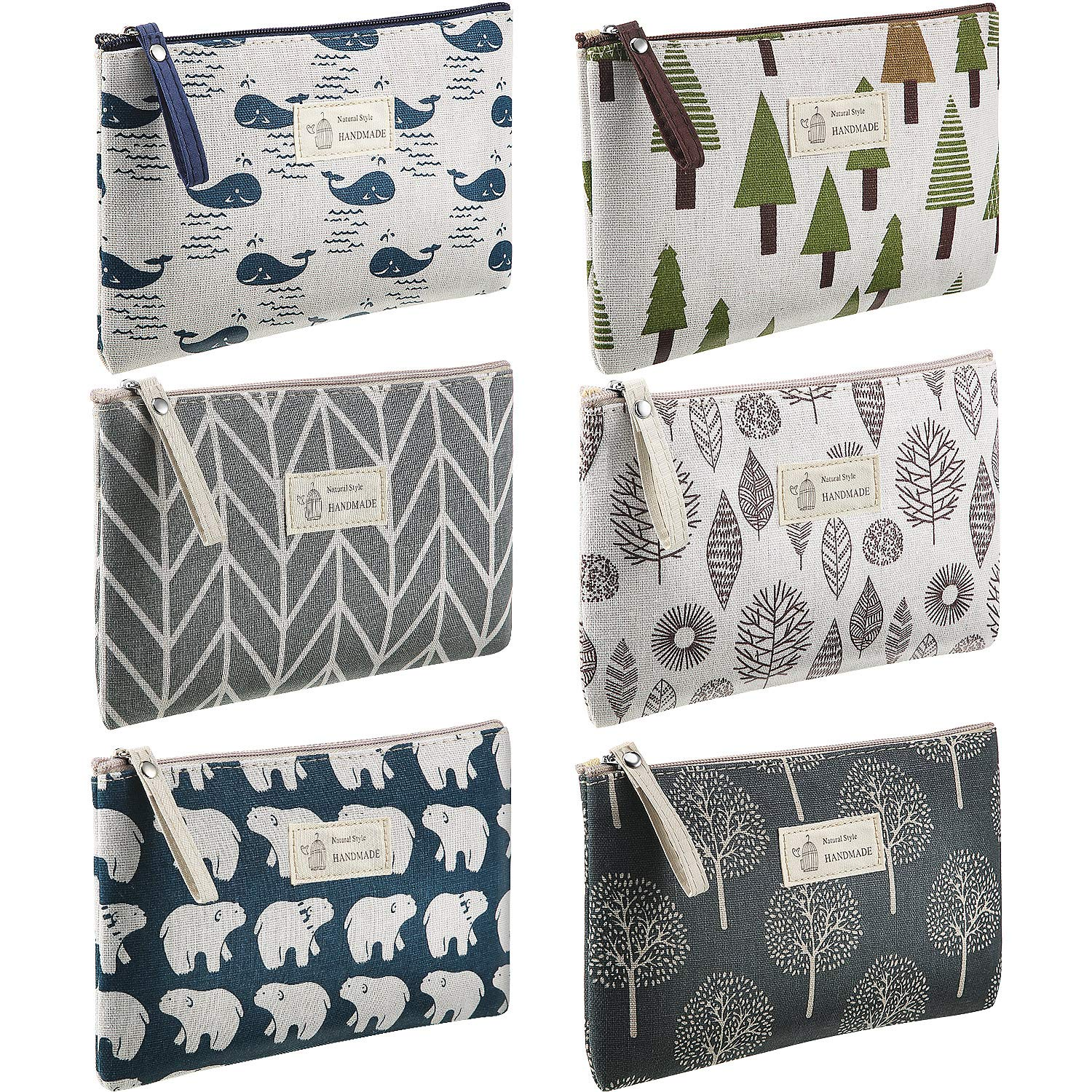 6 Pieces Printed Canvas Cosmetic Bags Large Capacity Travel Makeup Bag Casual Multi-function Roomy Toiletry Organizer Pouch Handbags with Zipper for Women, 6 Styles
