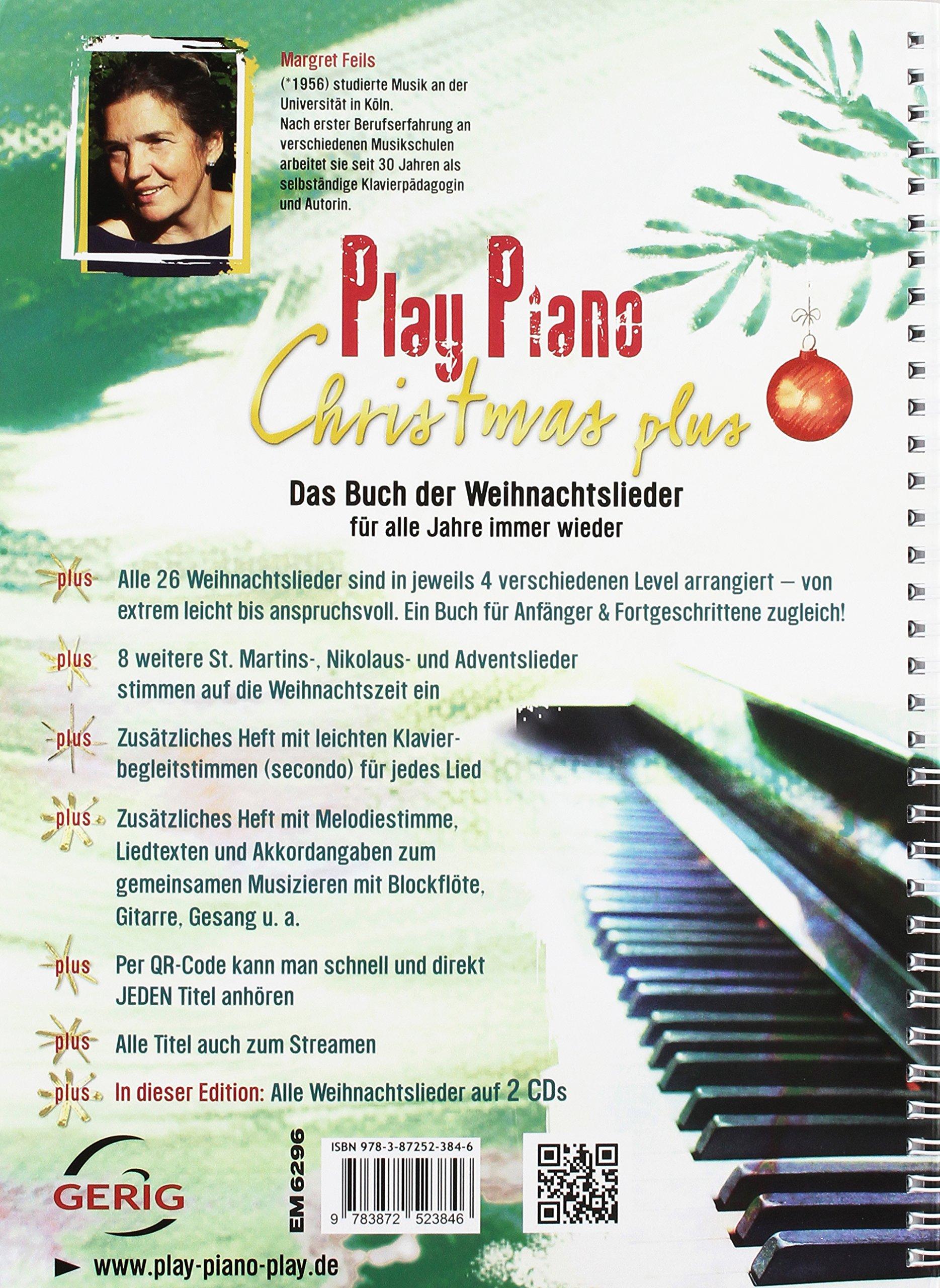 Play Piano Christmas Plus Edition Mit 2 Cds Das Buch Der Weihnachtslieder Für Alle Jahre Wieder 34 Lieder In Verschiedenen Schwierigkeitsgraden Plus 2 Cds Mit Allen Weihnachtsliedern Feils Margret 9783872523846 Amazon Com Books