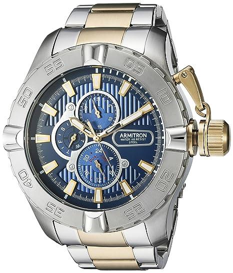 Amazon.com: Armitron Mens 20/5199NVTT Multi-Function Dial Two-Tone Bracelet Watch: Watches