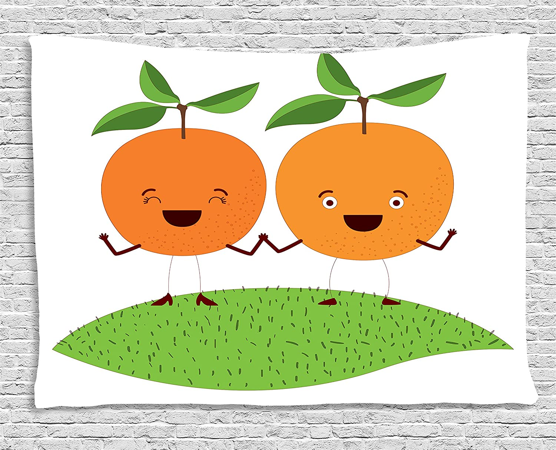Amazon.com: Verde y naranja tapiz por Ambesonne, caricatura ...