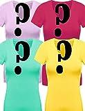 ViiViiKay 4 Pack Women's V Neck Short Sleeve Assorted Colors Work Utility Shirts