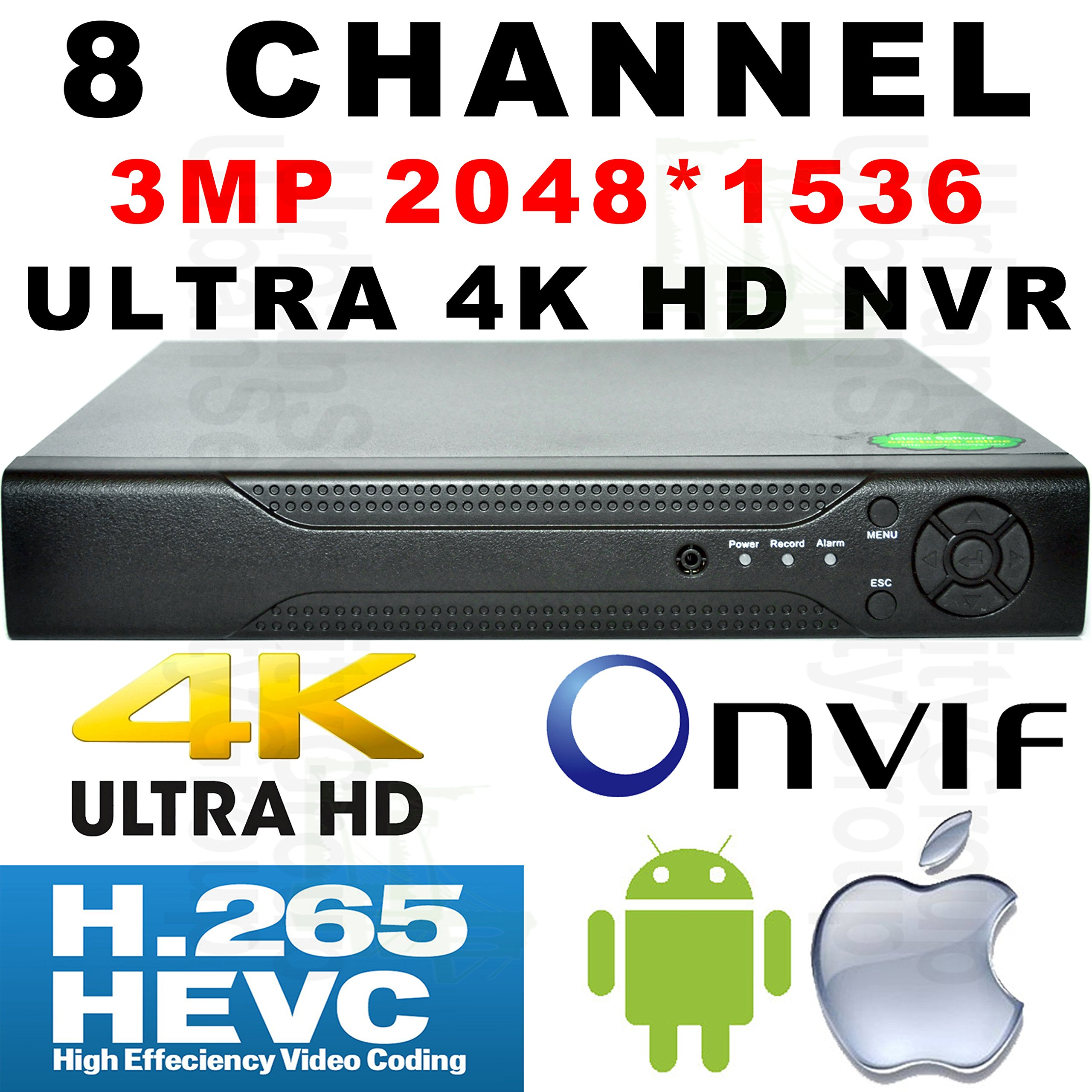 USG H.265 Ultra 4k IP Security Recorder NVR 8ch @ 3MP, 4ch @ 5MP, 16ch @ 960P IP Cameras Max 12TB HDD, ONVIF 2.4, RTSP, HDMI + VGA, 2x USB Ports, RS485, Gigabit RJ45 Apple Android Phone Viewing by Urban Security Group (Image #1)